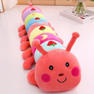 Игрушка-подушка Гусеница, арт ИГ4, цвет:клубнично-розовый