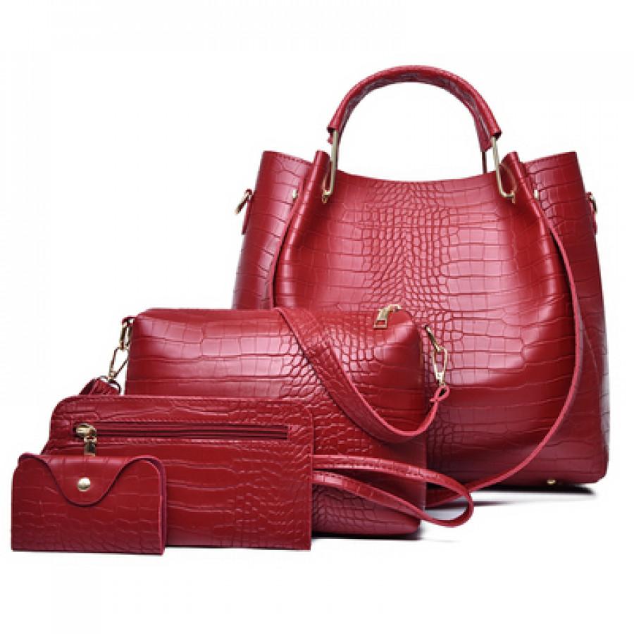 Набор сумок из 4 предметов арт А22, цвет: красный
