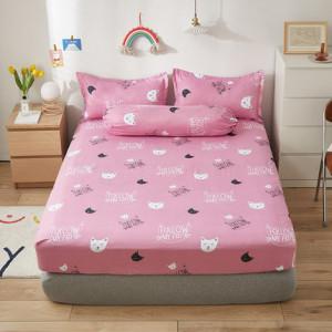 Простынь на резинке арт Н3, цвет: кошки розовый