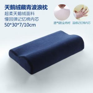 Подушка с эффектом памяти, арт ПЭ3, размер 50*30, цвет: бархат тёмно-синий