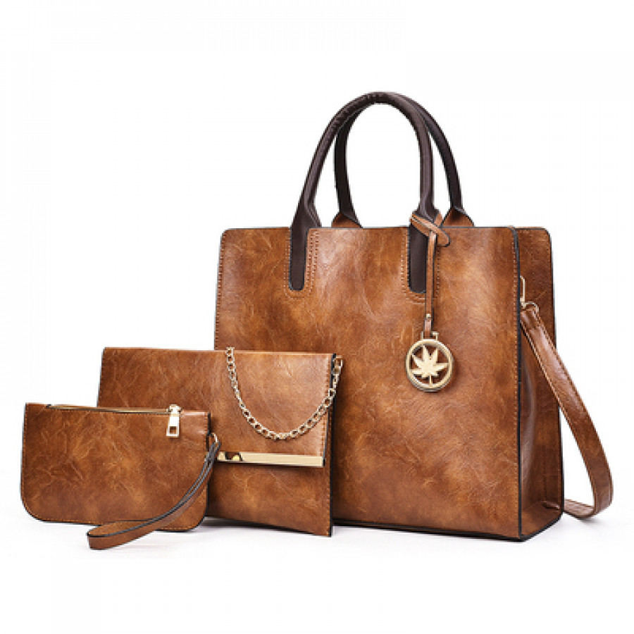 Набор сумок из 3 предметов арт А21, цвет: коричневый