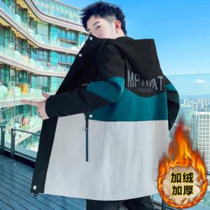 Куртка мужская арт МЖ3, цвет:верх чёрный, низ белый рис  М28 утеплённая