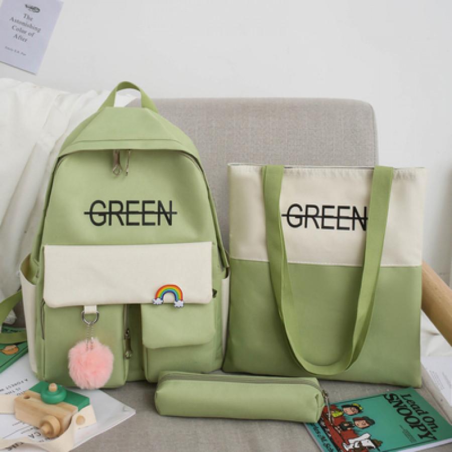 Набор-рюкзак из 3 предметов, арт Р1 цвет: зелёный