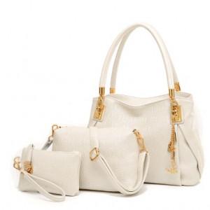 Набор сумок из 3 предметов, арт А41, цвет:жемчужно-белый
