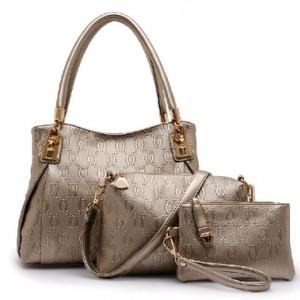 Набор сумок из 3 предметов, арт А41, цвет:золотой