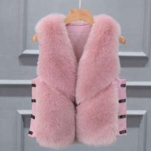 Меховой жилет арт КЖ48 цвет:розовый