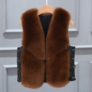 Меховой жилет арт КЖ48 цвет:коричневый