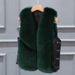 Меховой жилет арт КЖ48 цвет:темно-зеленый