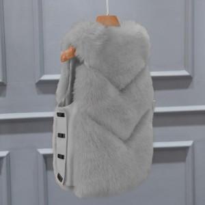 Меховой жилет арт КЖ48 цвет:светло-серый