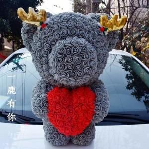 """Мишка из роз арт.МР101,цвет: Серый """"Вечное Сердце"""" (40 см)"""