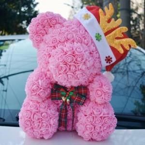 Мишка из роз арт.МР102,цвет: Нежный Розовый (40 см)