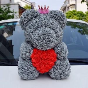 """Мишка из роз арт.МР103,цвет: Серый """"Твое Сердце"""" (40 см)"""