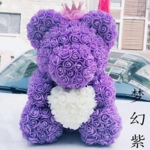 """Мишка из роз арт.МР103,цвет: Фиолетовый """"Твое Сердце"""" (40 см)"""