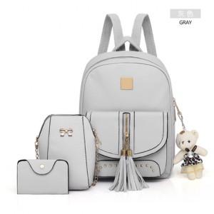 Рюкзак набор из 3 предметов арт.Р397.цвет: Светло-Серый