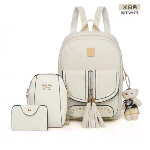 Рюкзак набор из 3 предметов арт.Р397.цвет: Молочно-Белый