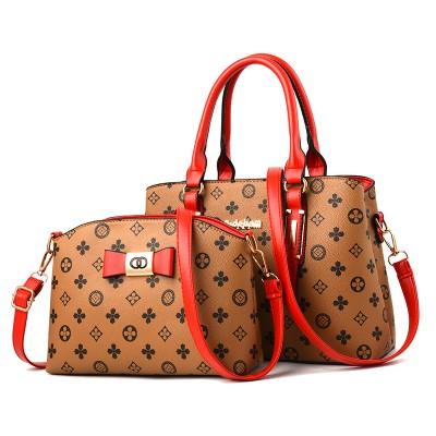 Набор сумок из 2 предметов арт.А593,цвет: Красный Хаки цветок