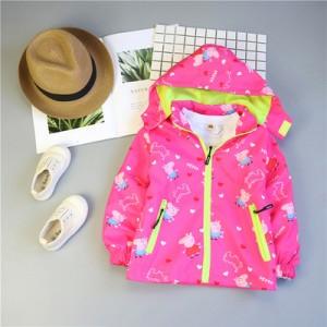 Детская куртка арт.КД075,цвет: Роза Красная, свинка Пеппа
