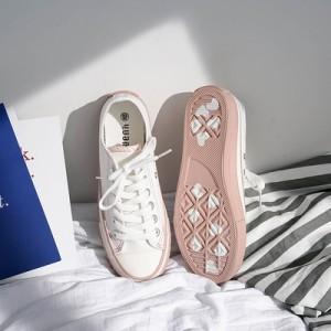 Женские кеды арт.ОЖ411,цвет: Белый+розовый