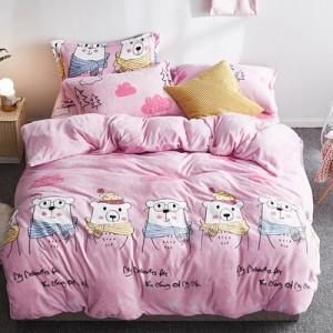 Флисовый комплект  арт ПБ2 цвет: Розовый потрясающие медведи