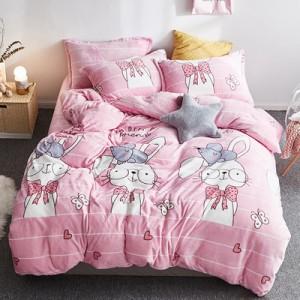 Флисовый комплект  арт ПБ2 цвет: Мультяшный розовый кролик