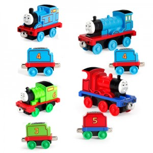 Набор паровозик Томас арт.ЖД19: 4 поезда +4 вагона