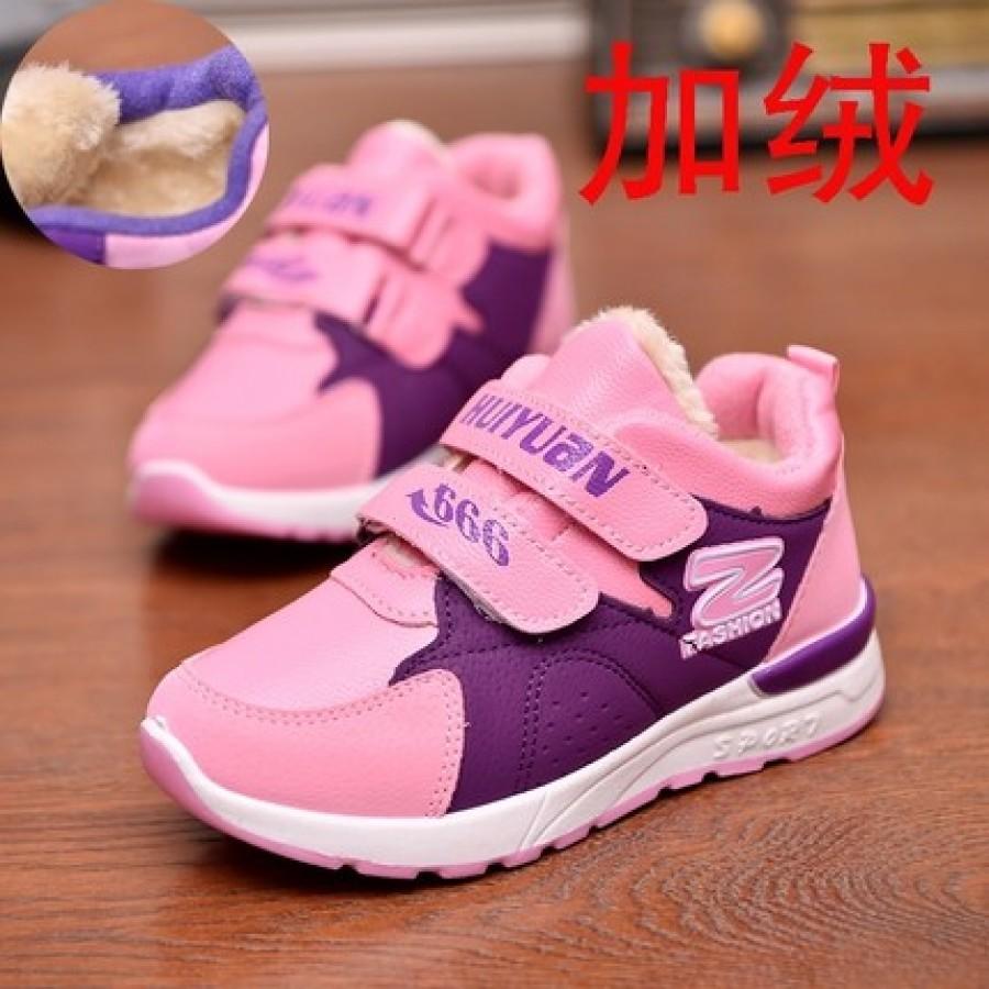 Кроссовки детские (утепленные) арт.ДС72,цвет: Фиолетовый с розовым