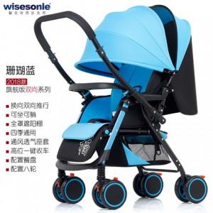 Детская коляска Wisesonie арт.9 , цвет: Коралловый Синий  (перекидная ручка)