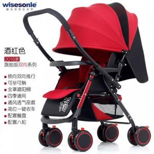 Детская коляска Wisesonie арт.9 , цвет: Вино Красное  (перекидная ручка)
