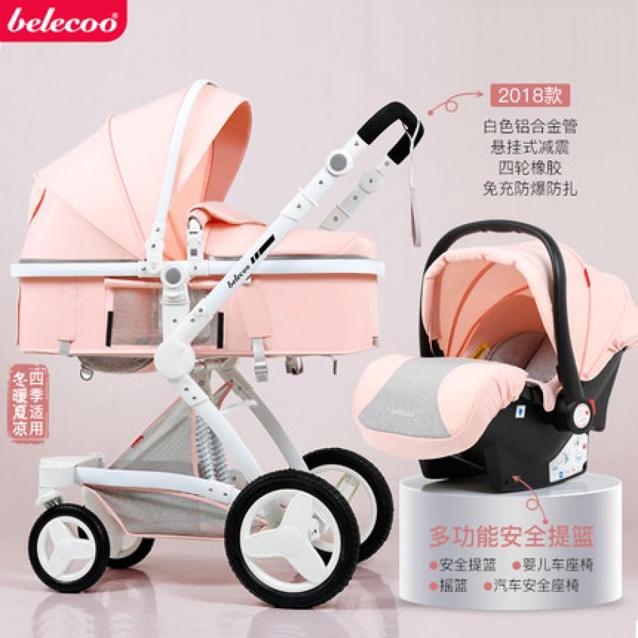 Детская коляска Bellecoo арт.13, цвет: Вишневый порошок + корзина