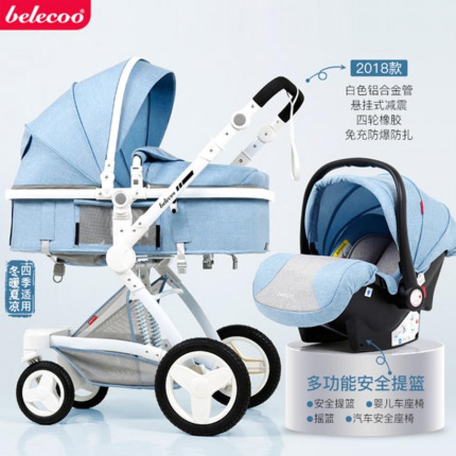 Детская коляска Bellecoo арт.13, цвет: Льняной Синий + корзина