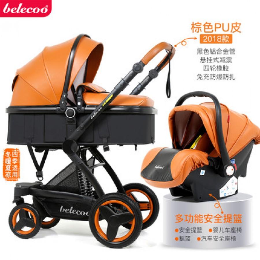 Детская коляска Bellecoo арт.12, цвет: Коричневый кожа PU + корзина