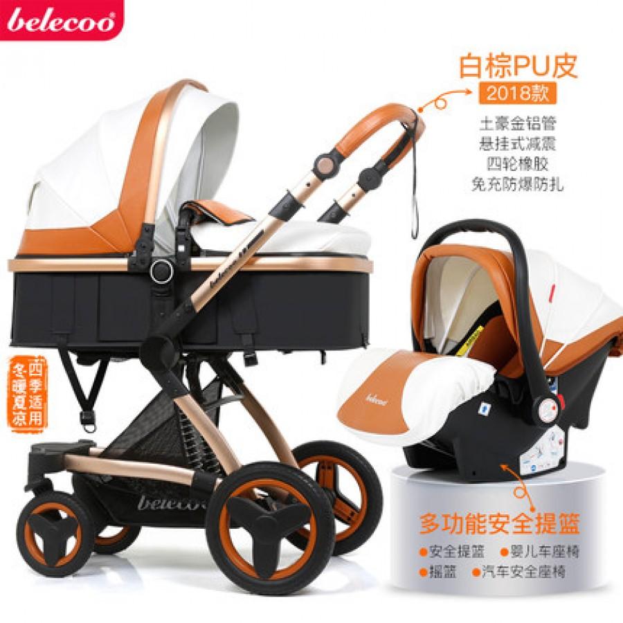 Детская коляска Bellecoo арт.12, цвет: Белая коричневый кожа PU + корзина