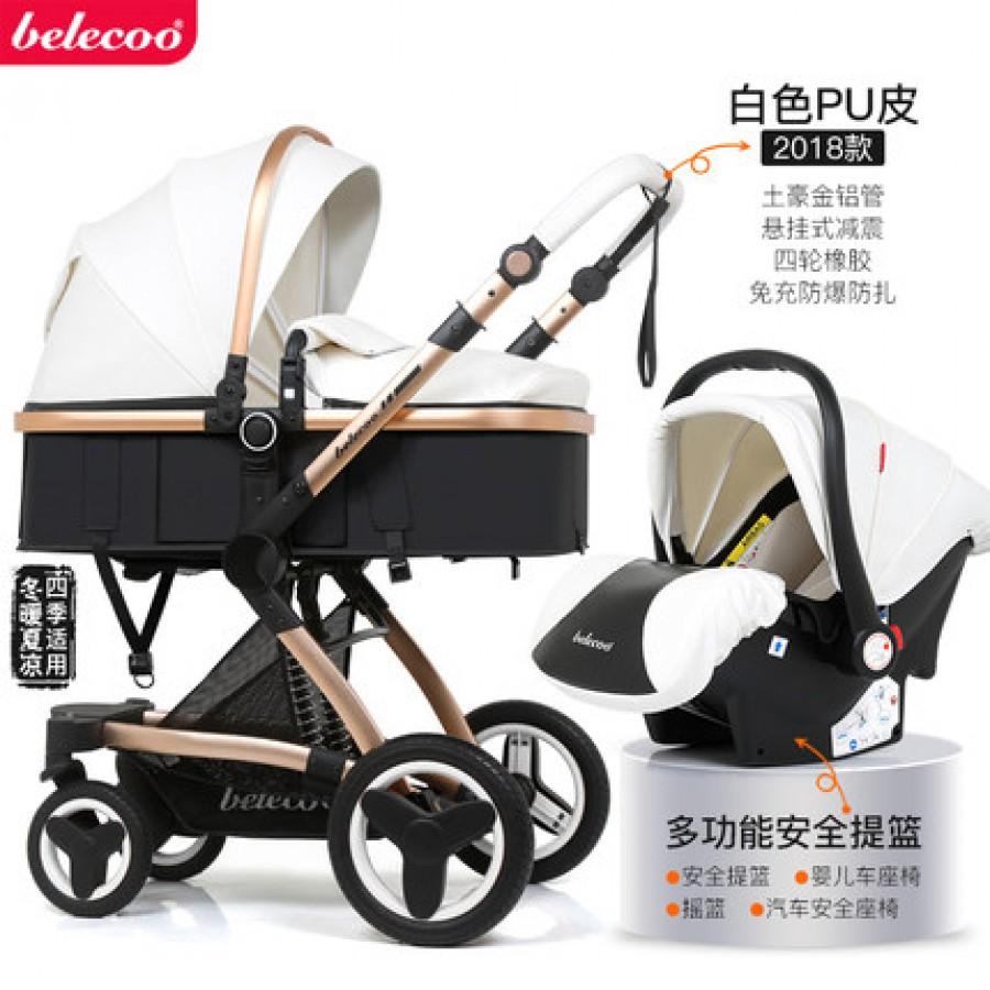 Детская коляска Bellecoo арт.12, цвет: Белая кожа PU + корзина