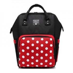 Рюкзак для мамы арт.Р366, цвет: Черный с красным (горошек)