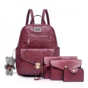 Рюкзак набор из 4 предметов арт.Р372,цвет: Вино Красное