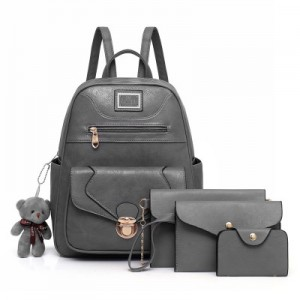 Рюкзак набор из 4 предметов арт.Р372,цвет: Светло-серый