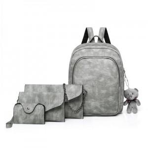 Рюкзак набор из 4 предметов арт.Р373,цвет: Светло-Серый