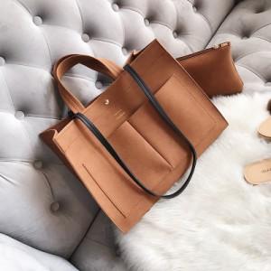 Набор сумок из 2 предметов арт.А567,цвет: Светло-коричневый  (сумка+косметичка)