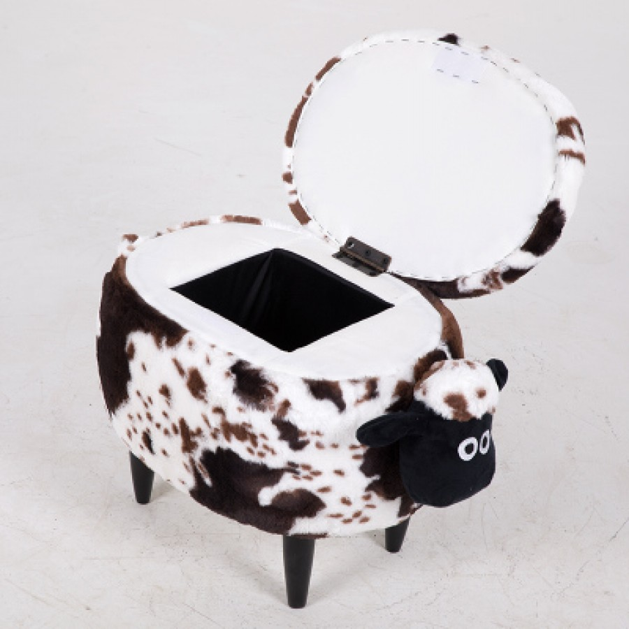 Пуф Шон арт.ДМК05,цвет: Белый пятнистый  (с ячейкой для хранения)