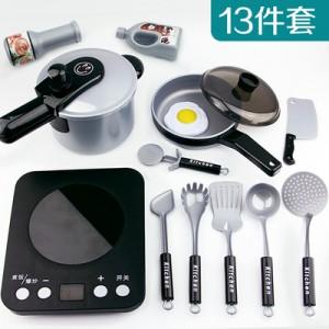 Набор детских  кухонных принадлежности арт.ИК100 из 13 единиц (с плитой)