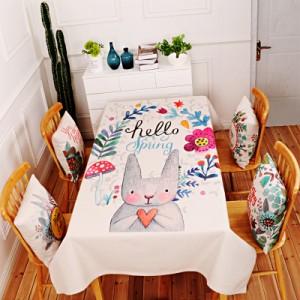 Скатерть хлопчатобумажная арт.СК01,цвет: Светло-серый цветы кролика