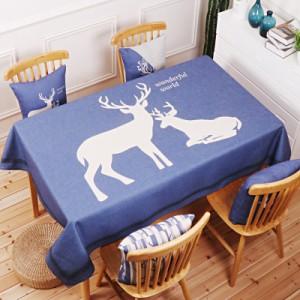 Скатерть хлопчатобумажная арт.СК01,цвет: Синий Северный олень