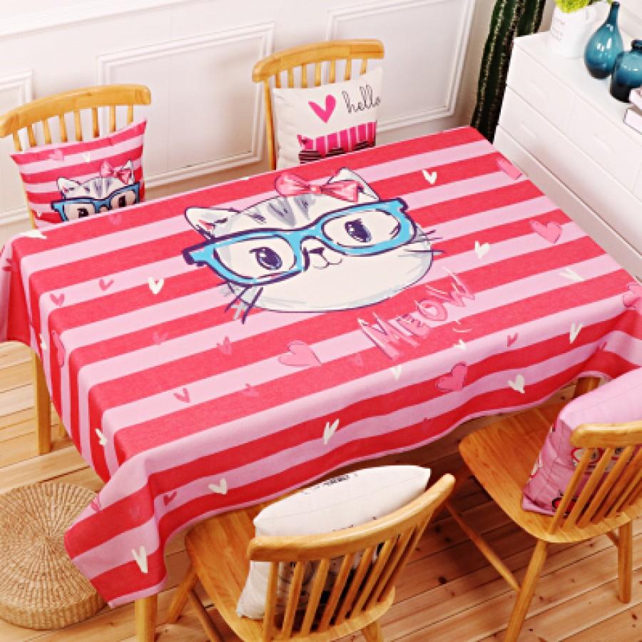 Скатерть хлопчатобумажная арт.СК01,цвет: Розовая кошка