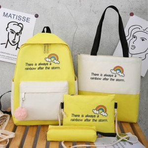Комплект рюкзак из 4 предметов, арт Р530, цвет:радуга желтый