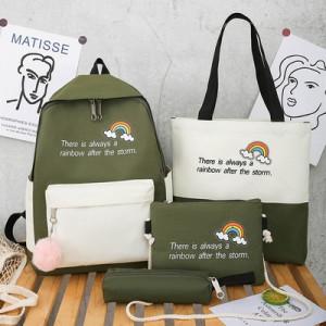 Комплект рюкзак из 4 предметов, арт Р530, цвет:радуга зеленый