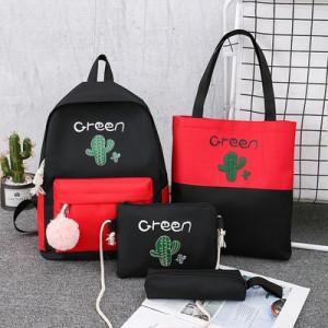 Комплект рюкзак из 4 предметов, арт Р531, цвет:кактус красный