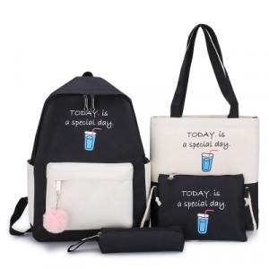 Комплект рюкзак из 4 предметов, арт Р532, цвет:черный