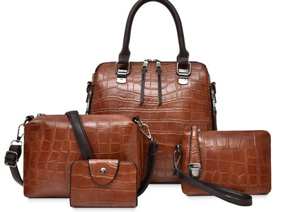 Комплект сумок из 4 предметов,арт А476 цвет: коричневый матовый