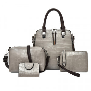 Комплект сумок из 4 предметов,арт А476 цвет: серый матовый