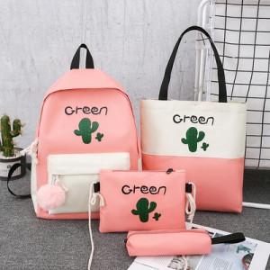 Комплект рюкзак из 4 предметов, арт Р531, цвет:кактус розовый